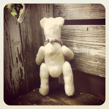 Custom Made Vintage Style Teddy Bear /Hand Stitched /Embroidered Details /Reworked And Recycled Materials