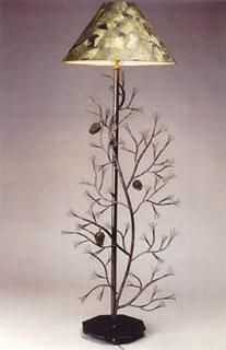 Custom Made Pine Branch Metal Floor Lamp