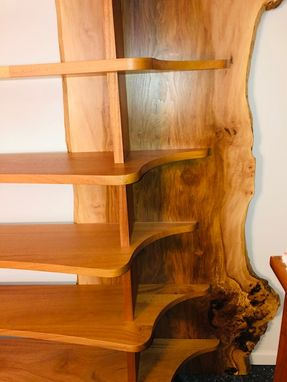 Custom Made Sycamore Slab Bookshelf