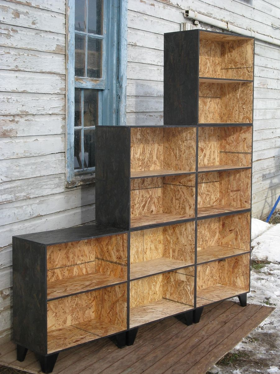 hand crafted tansu style step modular osb bookcase room divider in black stain by modular osb. Black Bedroom Furniture Sets. Home Design Ideas