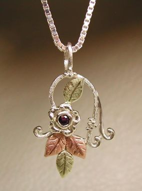 Custom Made Black Hills Gold On Silver Flower & Twine & Ruby