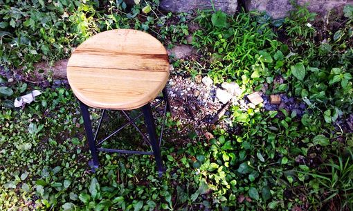 Custom Made Vintage Style Clerk Stool With Reclaimed Wood Seat