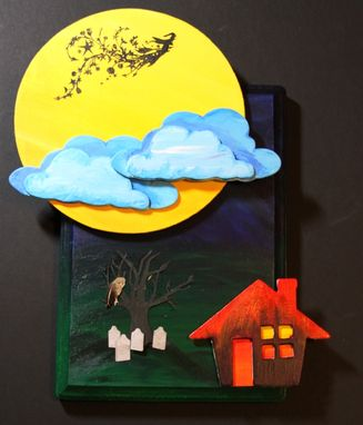 Custom Made Cloudy Halloween Night Moon Flying Witch Graveyard Mixed Media Art Wall Decor