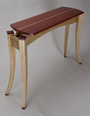 Custom Made Paduak Top Display Table/ Hall Table With Bent,Tapered, Laminated Ash Legs