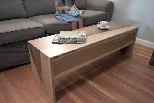 Handmade Wood Waterfall Bench Coffee Table In Sun Tanned