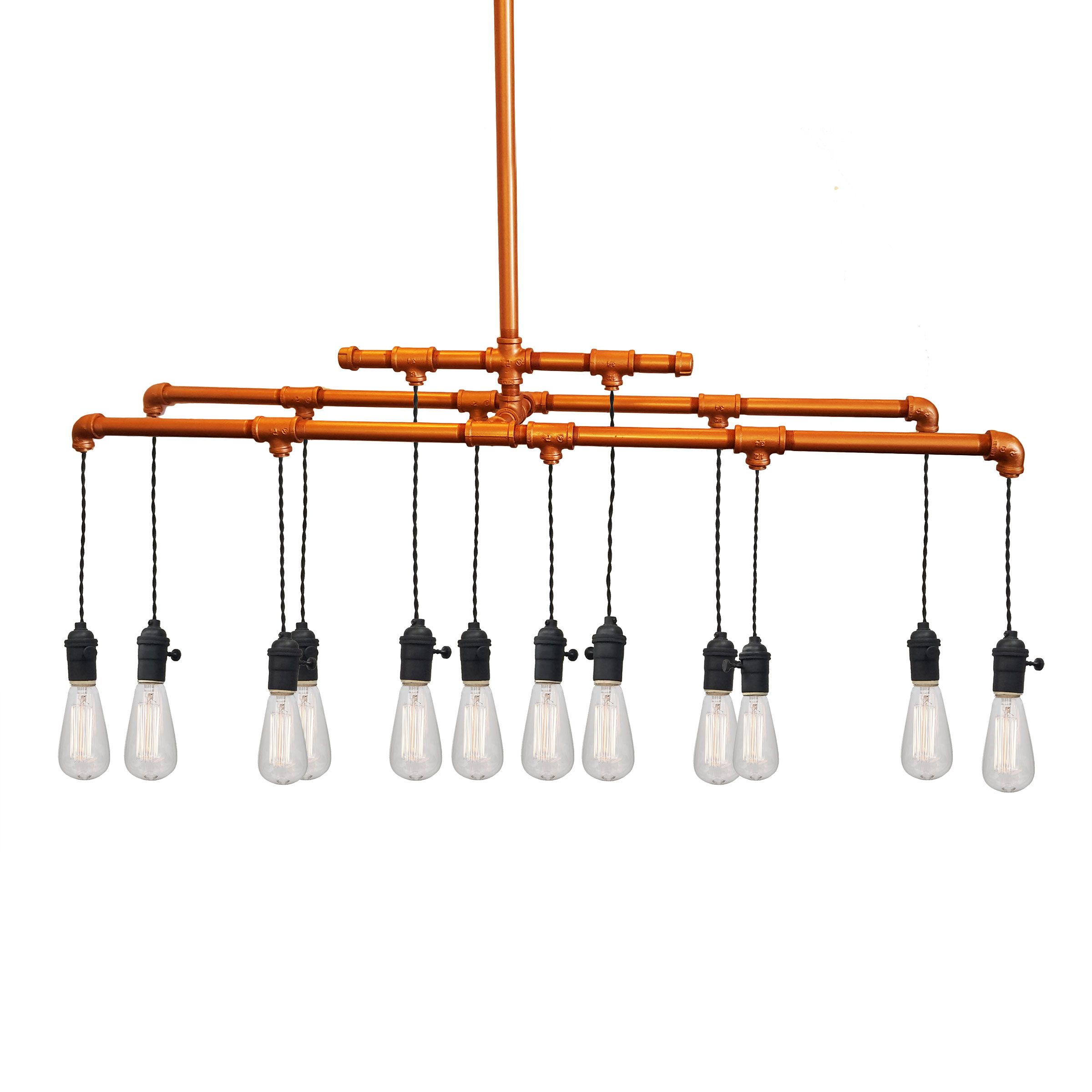 Hand Crafted Industrial Rustic Copper Pipe Chandelier 12