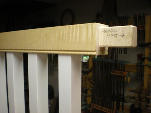 Custom Made Custom Curly Maple Handrail W/ Exposed Tenon