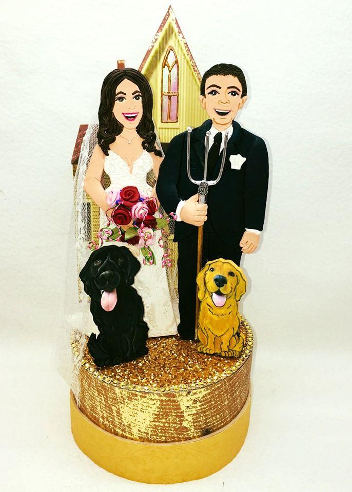 Custom American Gothic Wedding Anniversary Cake Topper By