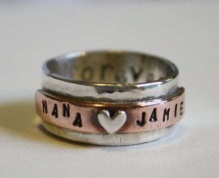 Custom Made Personalized Sterling Silver And Copper Forever Ring - $145