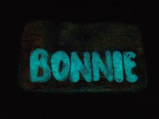 Custom Made Glow In The Dark Custom Name Tags In Dichroic Glass