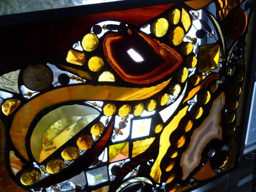 Custom Made Amber-Colored Stained Glass Abstract Art Panel