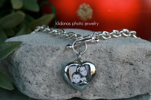 Custom Made Photo Necklace, Photo Pendant, Photo Jewelry, Picture Jewelry, Silver Link Necklace
