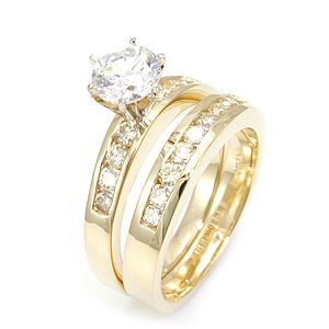 Custom Made Round Diamond Ring And Matching Band In 14k Yellow Gold, Wedding Set