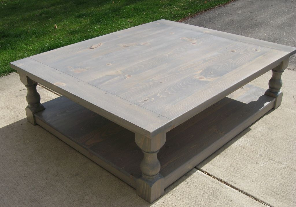 large pine rustic look coffee table