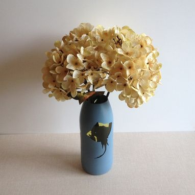 Hand Made Glass Flower Vase Slate Blue Sting Ray By