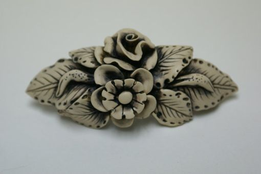 Custom Made Barrette, Hand Sculpted Polymer, Off White Ivory Color Flower Leaves