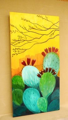 Custom Made Sunrise Cactus Butte Acrylic On Canvas Painting,
