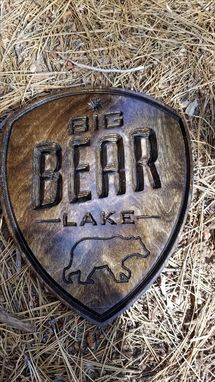 Custom Made Big Bear Lake Wood Carved Sign