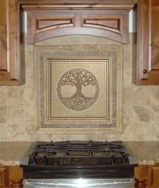 Custom Made Tree Of Life Travertine Mosaic Tile