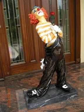 Custom Made Clown Holding A Rose Bronze Statue