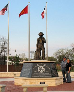 Custom Made 6 Ft. Granbury Volunteer Firefighter Memorial Example Of A Public Commission Work