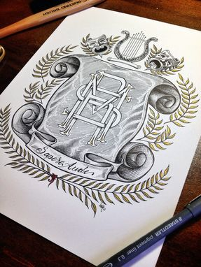 Custom Made Elaborate Hand Drawn Monograms And Family Crests