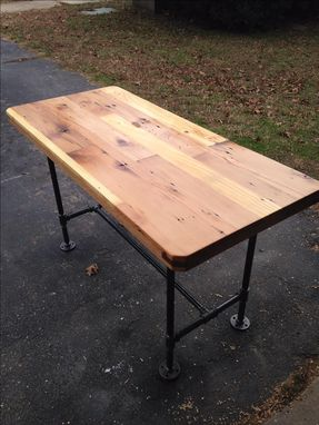 Custom Made Reclaimed Wood Steel Pipe Leg Table