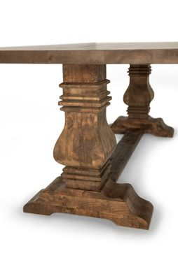 Custom Made Classic Trestle Dining Table With Tuscan Pedestals