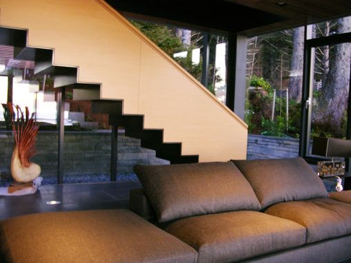 Custom Made Integrated Rift White Oak And Steel Stair