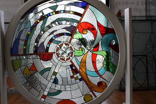 "Custom Made Abstract Beveled & Stained Glass ""Blitz"" Window Panel"