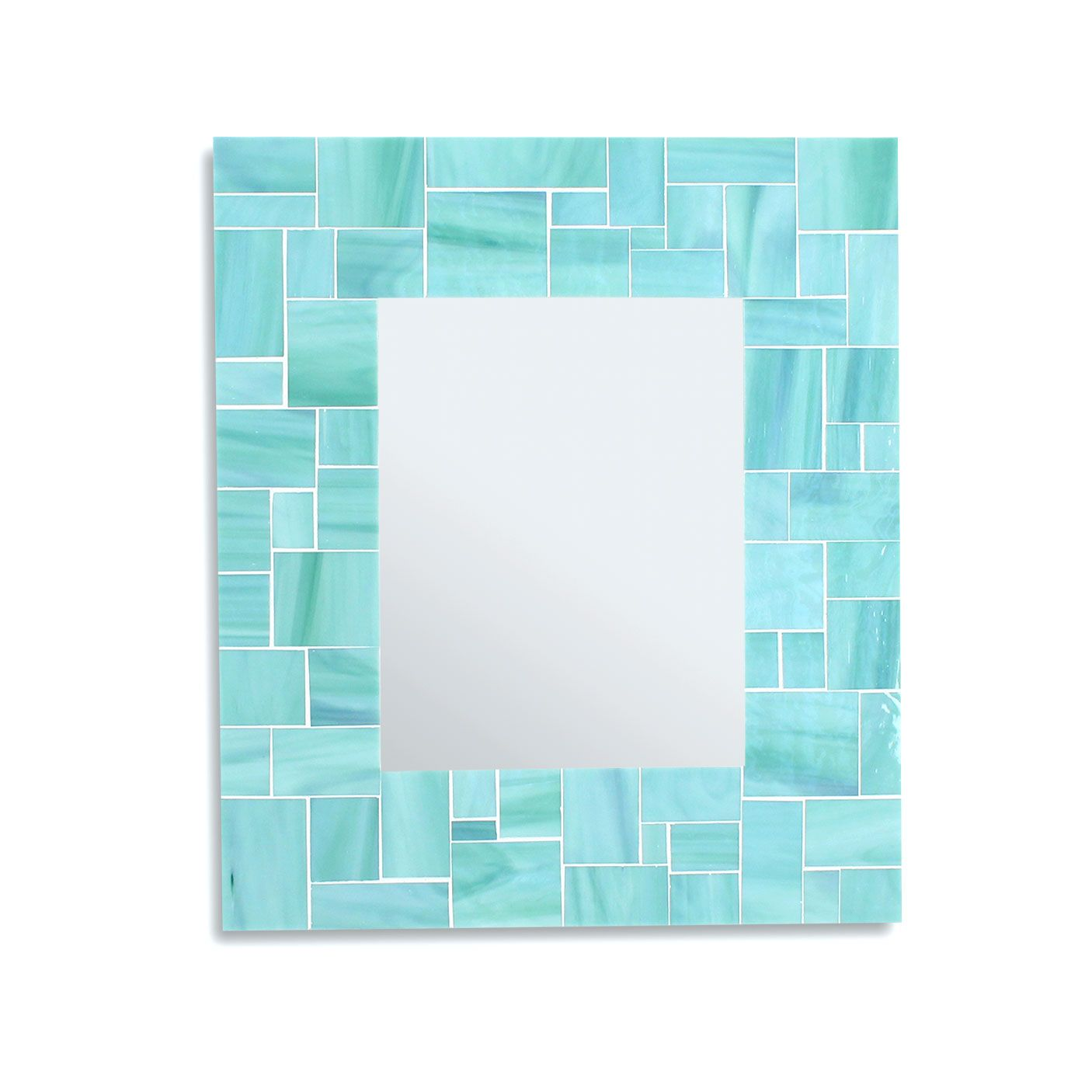 Buy Hand Crafted Decorative Sea Green Mosaic Bathroom Wall Mirror In Stained Glass Tiles Made