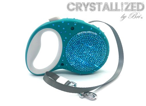 Custom Made Crystallized Retractable Dog Leash Bling Made With Swarovski Crystals Bedazzled