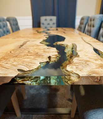 Custom Made Maple Epoxy River Dining Table