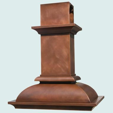 Custom Made Copper Range Hood With Mid Crown