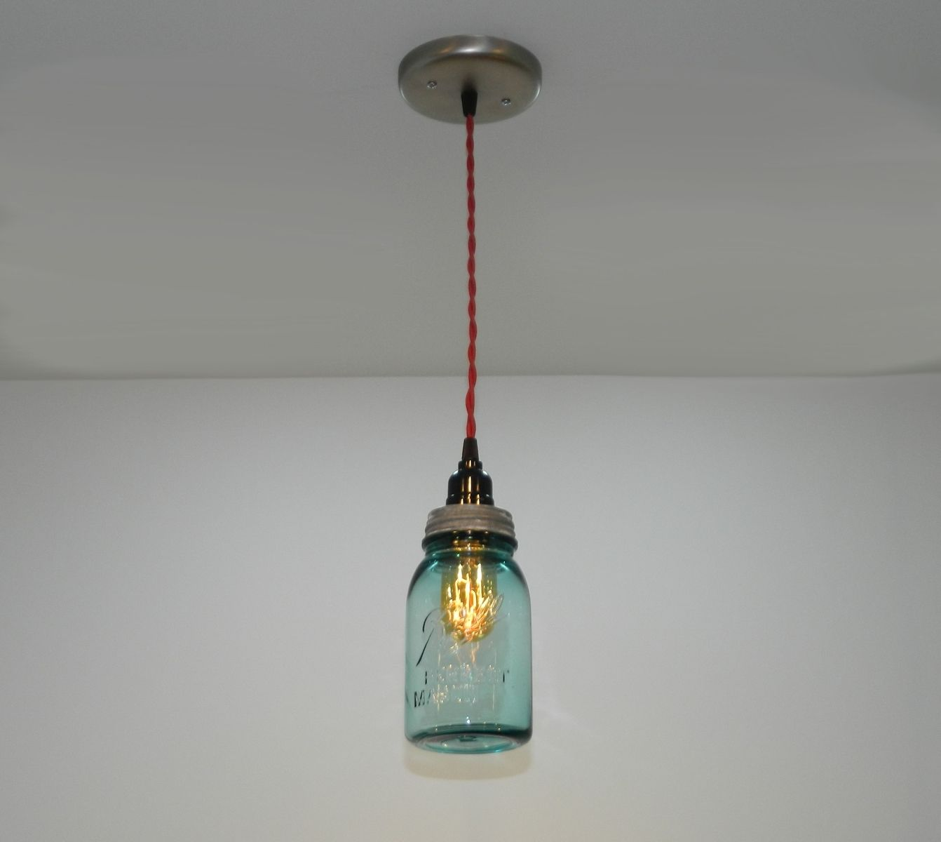 Custom antique aqua ball mason jar hanging pendant light for Hanging lights made from mason jars