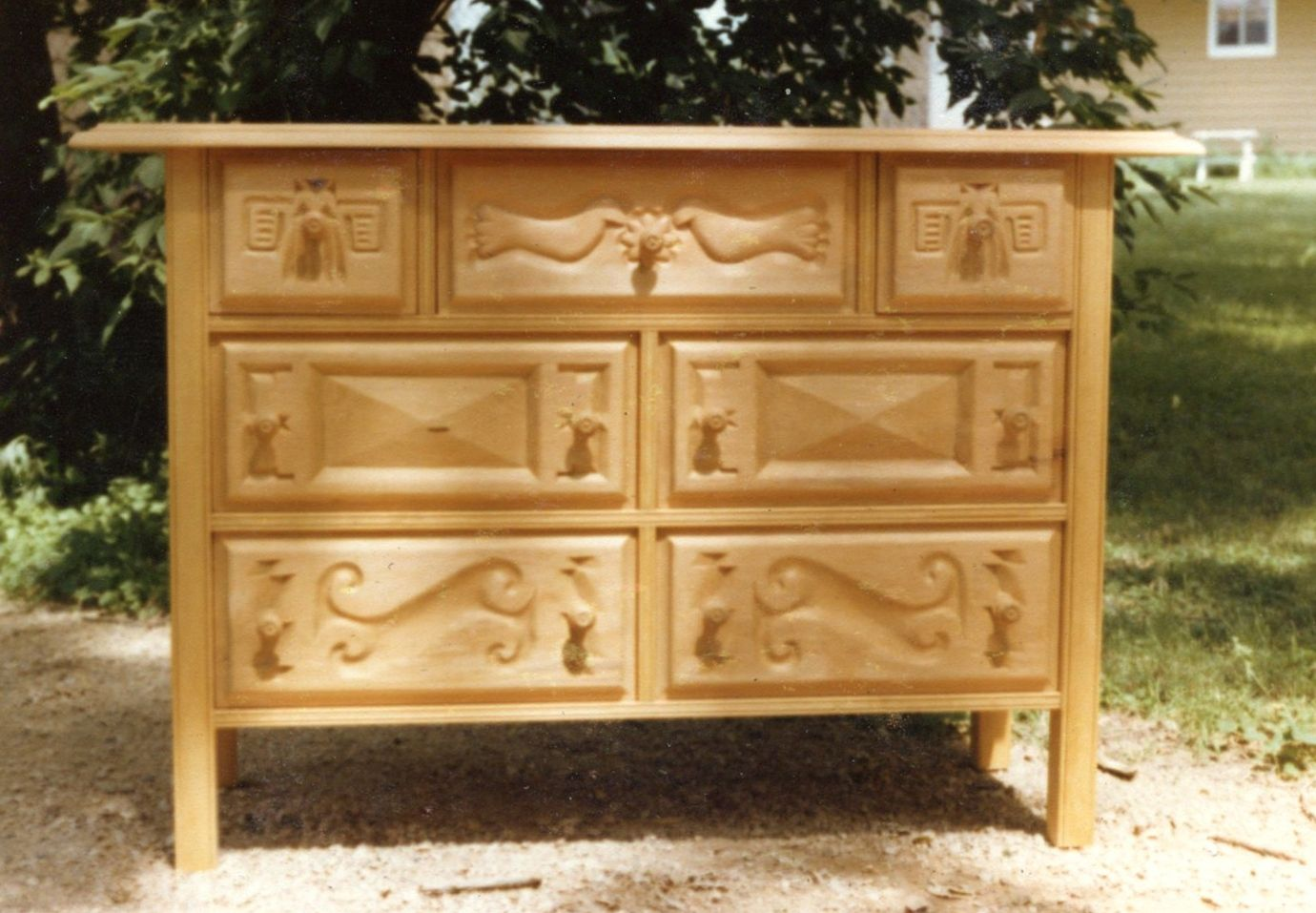 Hand Crafted Hand Carved Mexican Wooden Drawer Chest By
