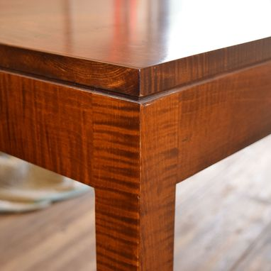 Custom Made Parsons Contemporary Table In Tiger Maple