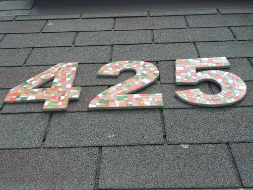 Custom Made Address Numbers In Mosaic Tile In Orange, Coral And Green Stained Glass