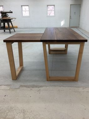 Custom Made Maple And Walnut Desk With Open Shelving And Repositionable Return