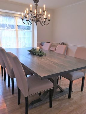 Custom Made Rustic Trestle Farmhouse Dining Table