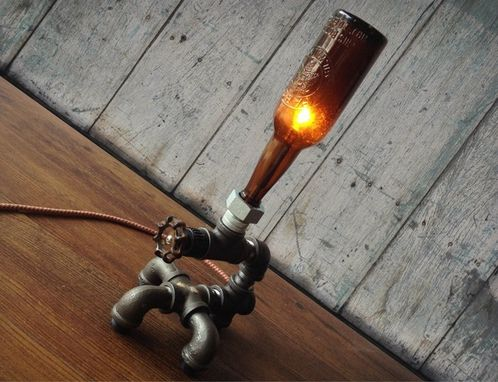 Custom Made Industrial Brewery Lamp - Historic Beer Bottle- Faucet Switch - Iron Pipe