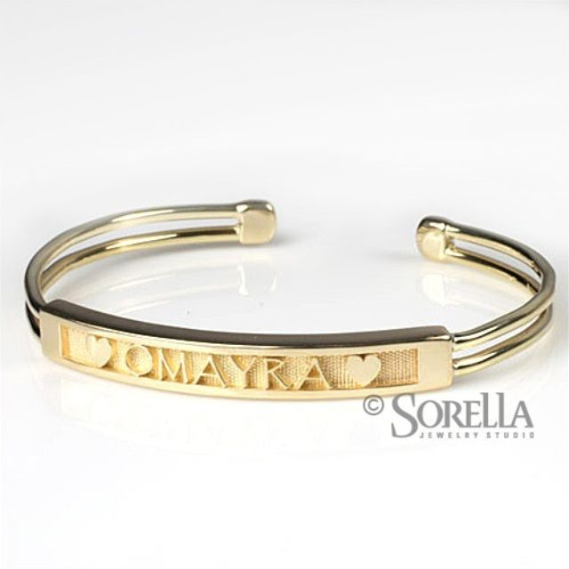 Hand Crafted Personalized Name Message Cuff Bracelet In 14k Gold By Sorella Jewelry Studio Custommade
