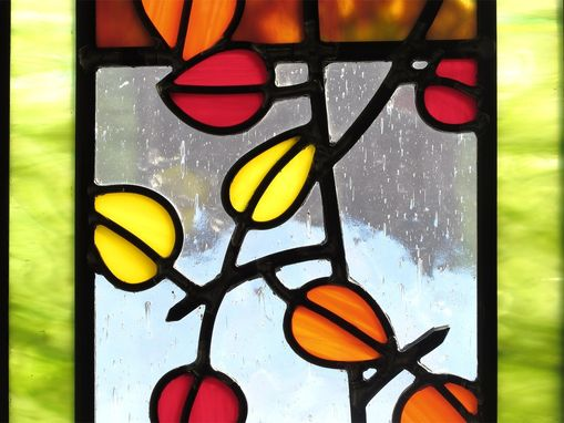 Handmade Aspen Trees And Leaves Stained Glass By Painted