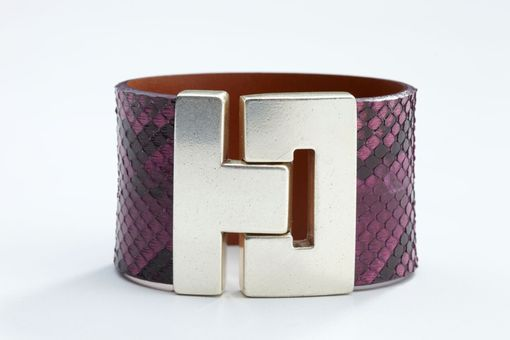 Custom Made Genuine Python Luxury Bracelet In Purple - Exotic Leather