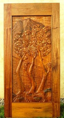 Custom Made Carved Door In Mahogany - Quaking Aspen