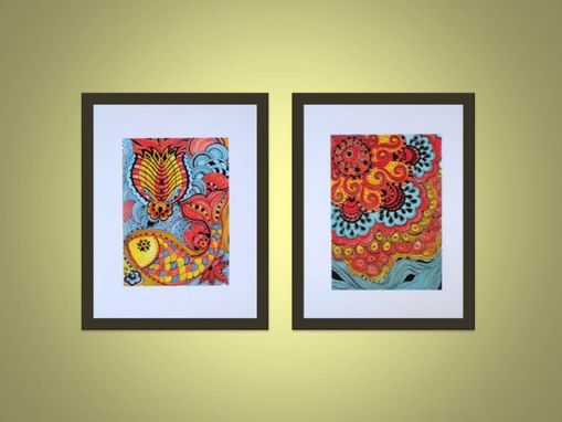 Custom Made Fish Fine Art Print- Yellow Orange Blue Ink And Acrylic Painting