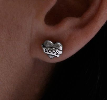 Custom Made Heart And Banner Love Earrings In Sterling Silver