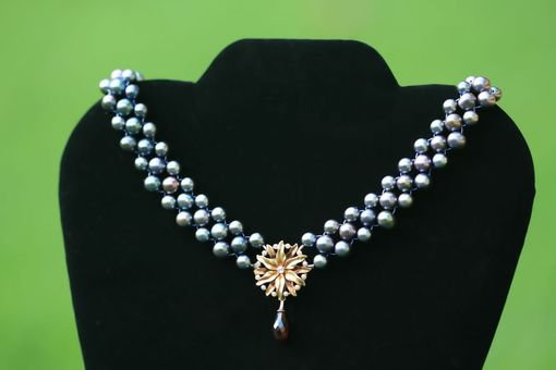 Custom Made Hand Woven Blossoming Peacock Pearl Necklace & Earrings Set With Diamond And Garnet Briolette Drop