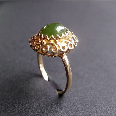 Custom Made Vintage Ring 14k Yellow Gold And Jade 2