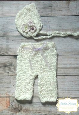 Custom Made Baby Bonnet And Pants Set